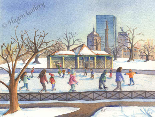 Skaters at the Frog Pond