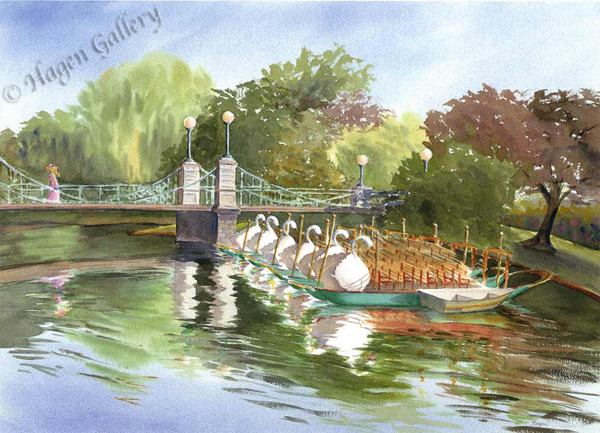 Swan Boats on a Summer Morning